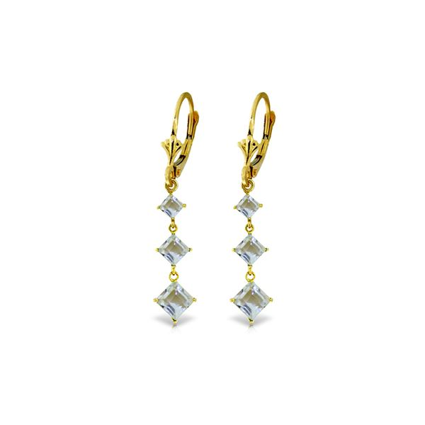 Genuine 4.79 ctw Aquamarine Earrings 14KT Yellow Gold - REF-63T2A