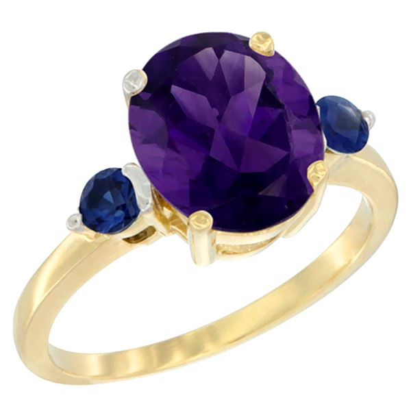 2.64 CTW Amethyst & Blue Sapphire Ring 14K Yellow Gold - REF-32W3F