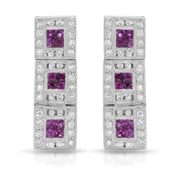Natural 0.92 CTW Ruby & Diamond Earrings 18K White Gold - REF-94M5F