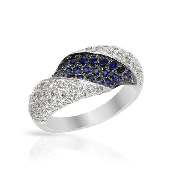 Natural 1.20 CTW Sapphire & Diamond Ring 14K White Gold - REF-101M7F