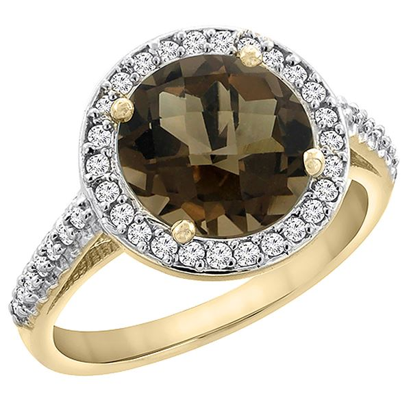 2.44 CTW Quartz & Diamond Ring 14K Yellow Gold - REF-56X2M