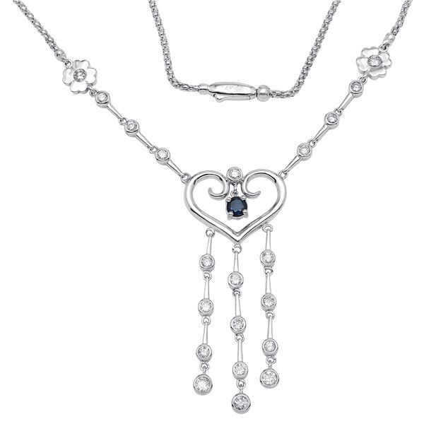 Natural 2.04 CTW Sapphire & Diamond Necklace 14K White Gold - REF-225R9K