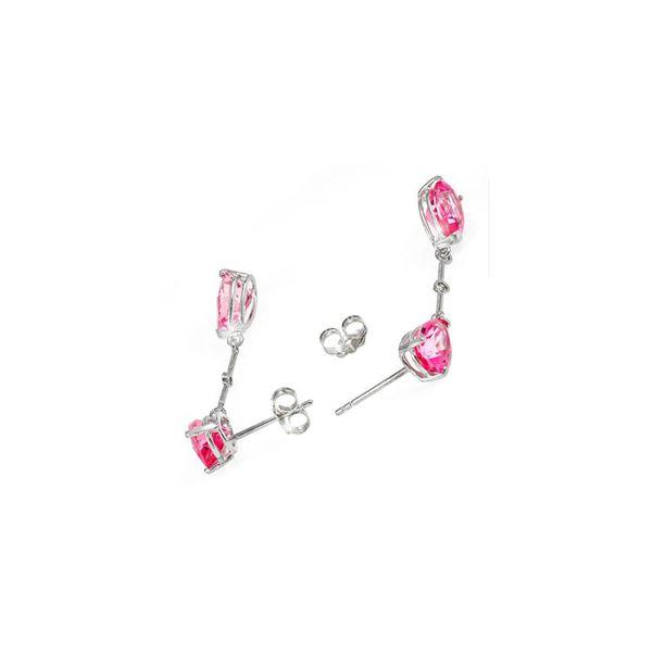 Genuine 7.01 ctw Pink Topaz & Diamond Earrings 14KT White Gold - REF-33M8T