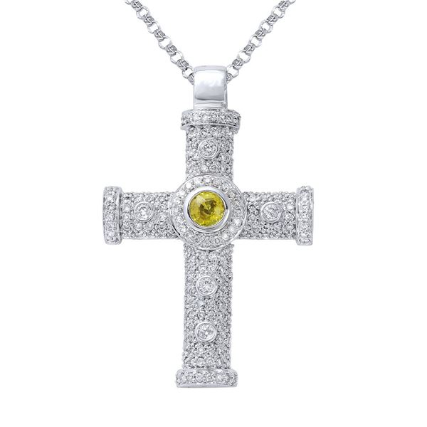 Natural 1.49 CTW Yellow Sapphire & Diamond Necklace 14K White Gold - REF-114Y3N