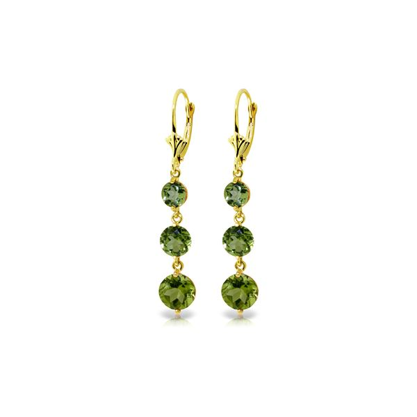 Genuine 7.2 ctw Peridot Earrings 14KT Yellow Gold - REF-42X6M
