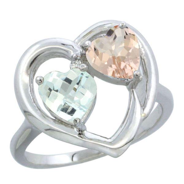 1.91 CTW Diamond, Aquamarine & Morganite Ring 14K White Gold - REF-40A7X
