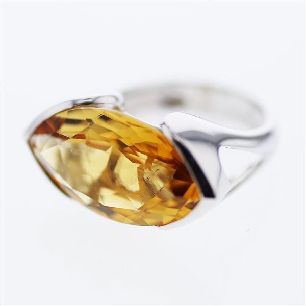 Natural 10.57 CTW Citrine Ring 14K White Gold - REF-57Y6N