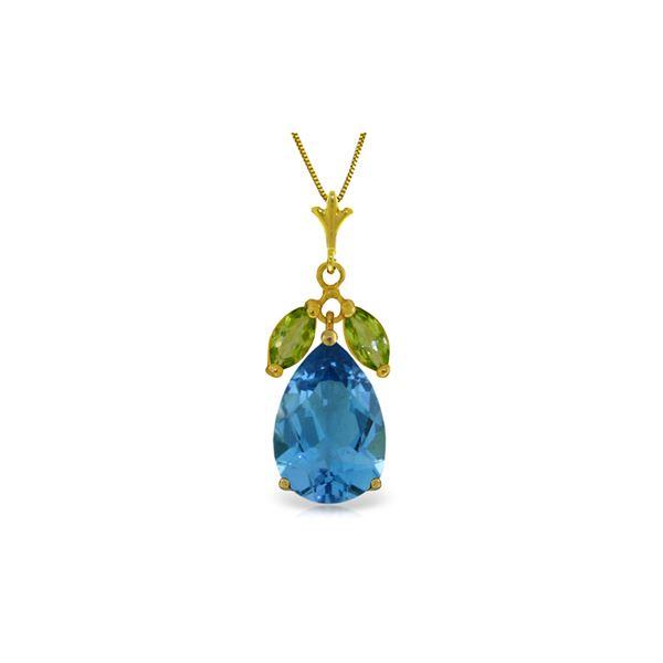 Genuine 6.5 ctw Blue Topaz & Peridot Necklace 14KT Yellow Gold - REF-38F2Z