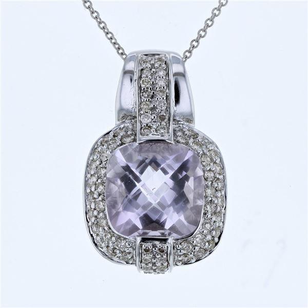 Natural 5.66 CTW Amethyst & Diamond Necklace 14K Gold - REF-90M2F