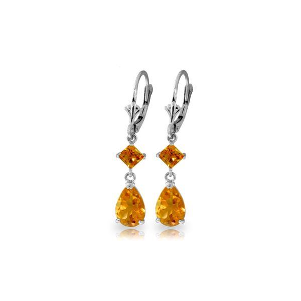 Genuine 4.5 ctw Citrine Earrings 14KT White Gold - REF-41T4A