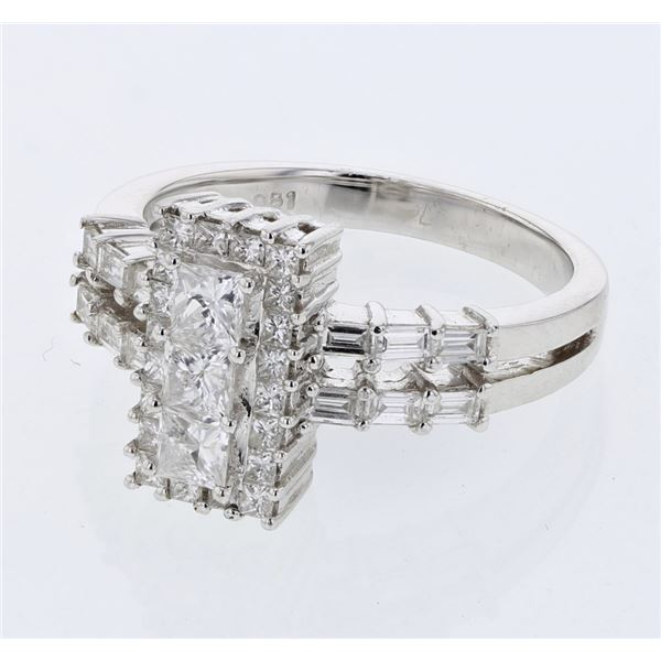 Natural 1.15 CTW Princess Diamond & Baguette Ring 18K White Gold - REF-167X4T