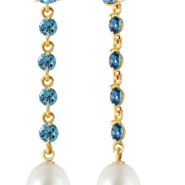 Genuine 10 ctw Blue Topaz & Pearl Earrings 14KT Yellow Gold - REF-32M4T