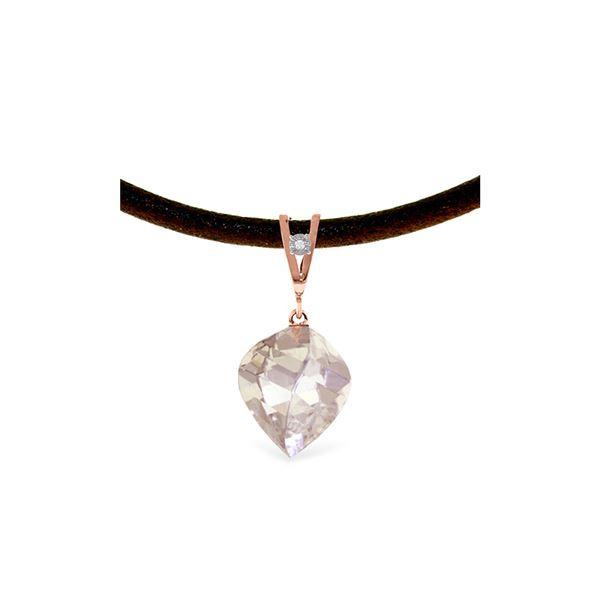 Genuine 12.81 ctw White Topaz & Diamond Necklace 14KT Rose Gold - REF-45F2Z