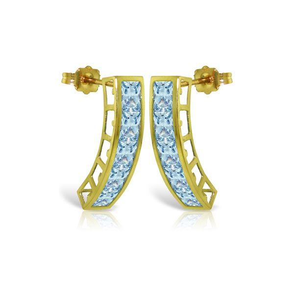 Genuine 4.5 ctw Aquamarine Earrings 14KT Yellow Gold - REF-50X6M