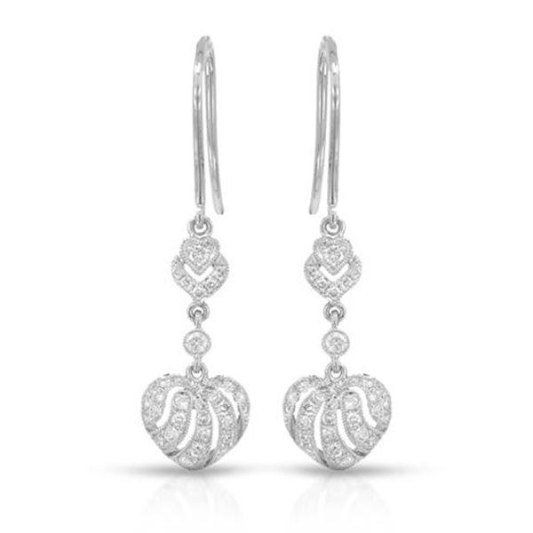 Natural 0.45 CTW Diamond Earrings 14K White Gold - REF-81X9T