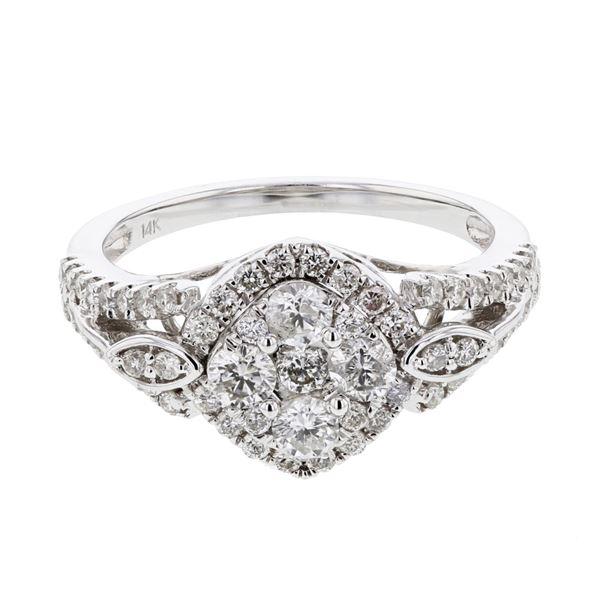 Natural 0.93 CTW Diamond Ring 14K White Gold - REF-113X4T