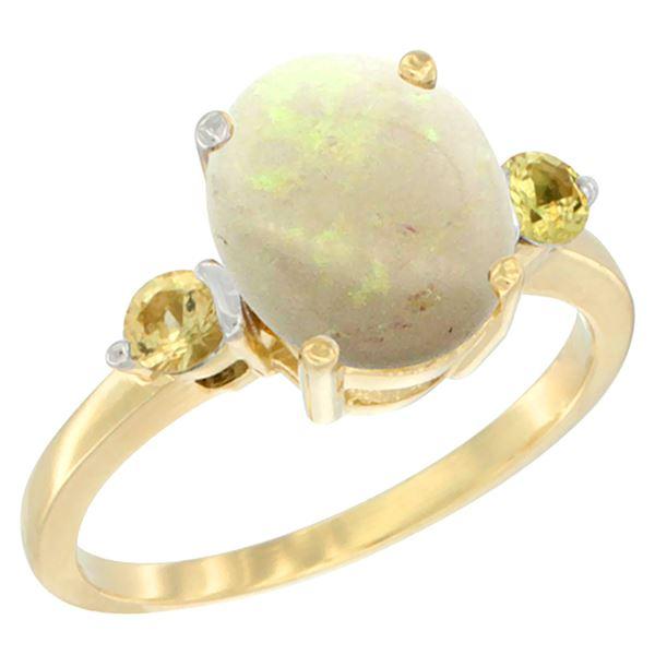 1.65 CTW Opal & Yellow Sapphire Ring 10K Yellow Gold - REF-24M2K