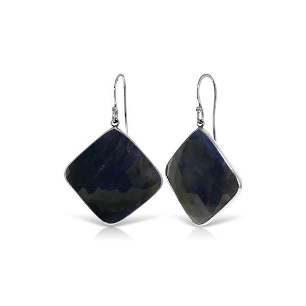 Genuine 43.5 ctw Sapphire Earrings 14KT White Gold - REF-114F3Z