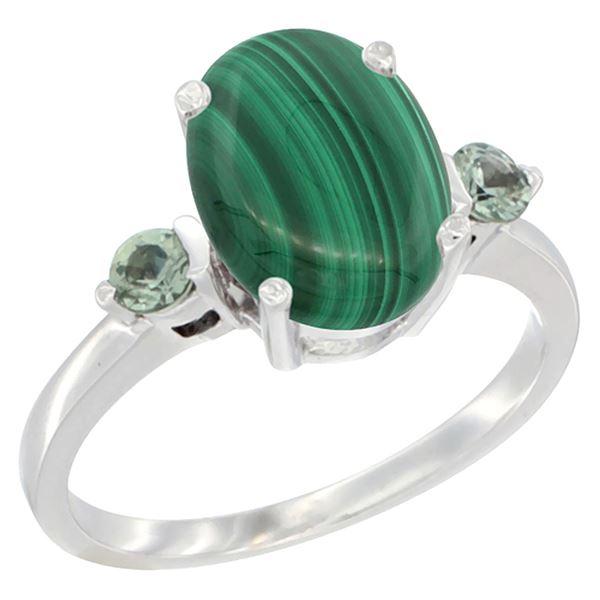 2.99 CTW Malachite & Green Sapphire Ring 14K White Gold - REF-30X3M