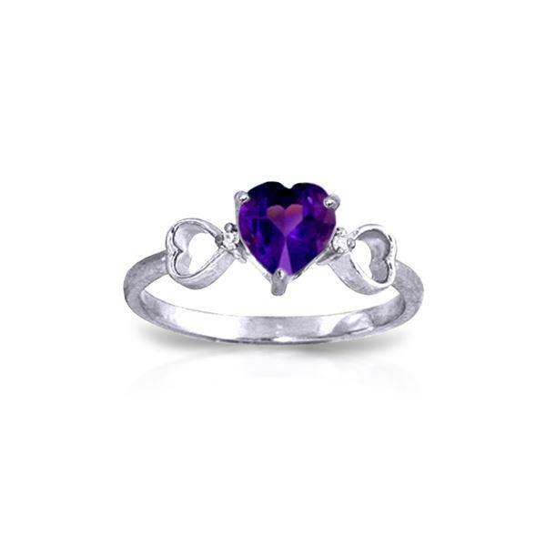 Genuine 0.96 ctw Amethyst & Diamond Ring 14KT White Gold - REF-41K4V