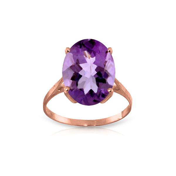 Genuine 7.55 ctw Amethyst Ring 14KT Rose Gold - REF-45F3Z