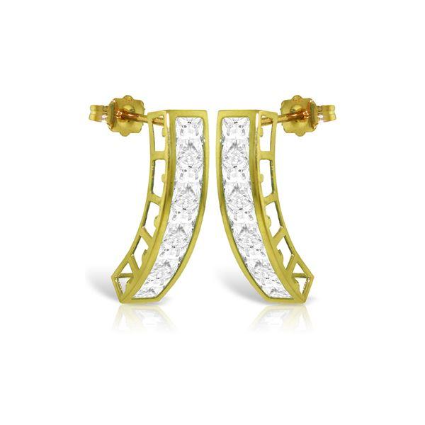 Genuine 4.5 ctw White Topaz Earrings 14KT Yellow Gold - REF-38N5R