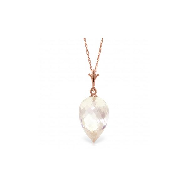 Genuine 12.25 ctw White Topaz Necklace 14KT Rose Gold - REF-27P2H