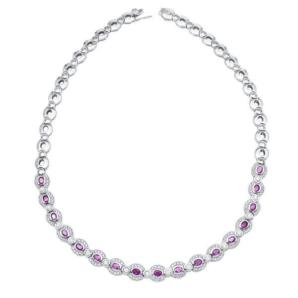 Natural 8.19 CTW Pink Sapphire & Diamond Necklace 14K White Gold - REF-671R4K