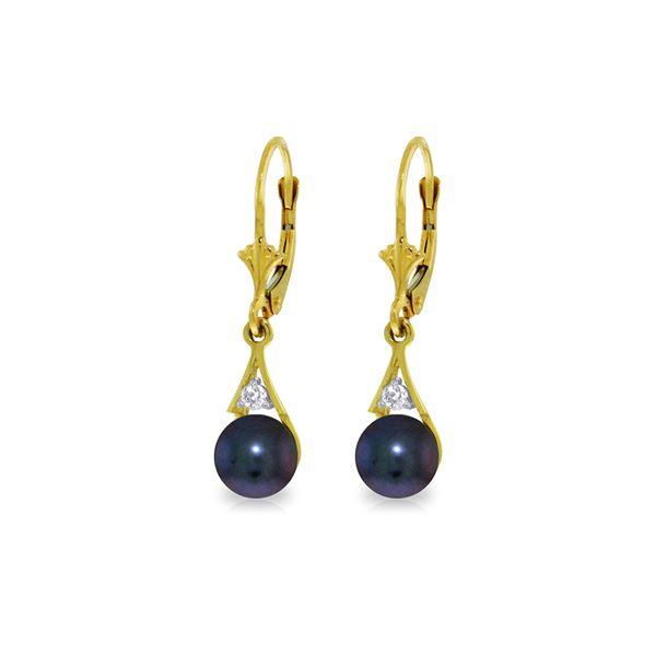 Genuine 4.06 ctw Black Pearl & Diamond Earrings 14KT Yellow Gold - REF-40W5Y