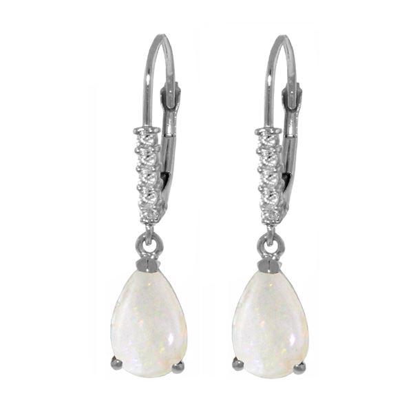Genuine 1.70 ctw Opal & Diamond Earrings 14KT White Gold - REF-45Y8F