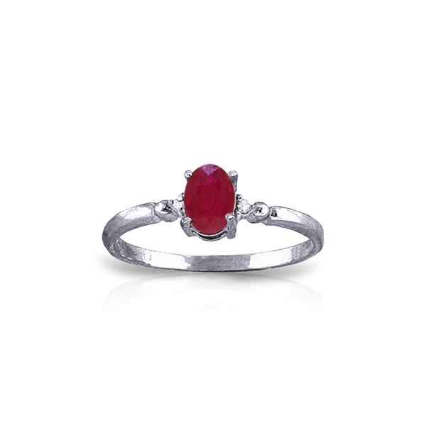 Genuine 0.51 ctw Ruby & Diamond Ring 14KT White Gold - REF-22P3H