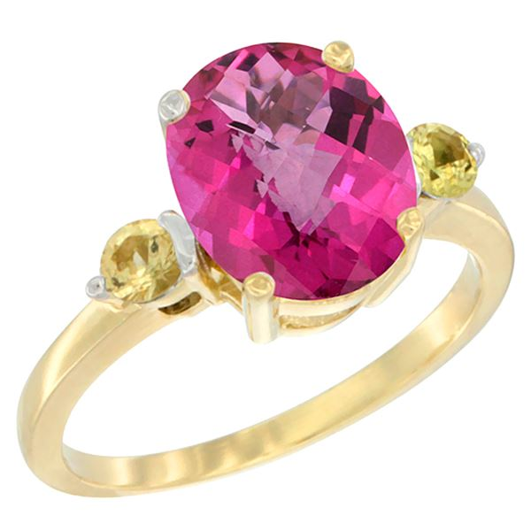 2.64 CTW Pink Topaz & Yellow Sapphire Ring 14K Yellow Gold - REF-32Y3V
