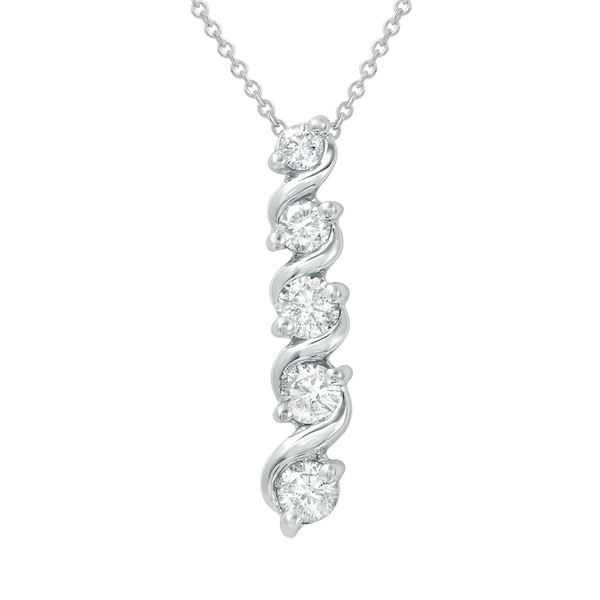 Natural 0.75 CTW Diamond Necklace 14K White Gold - REF-103R5K
