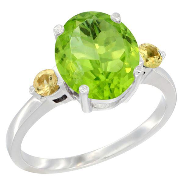 3.02 CTW Peridot & Yellow Sapphire Ring 14K White Gold - REF-36K3W