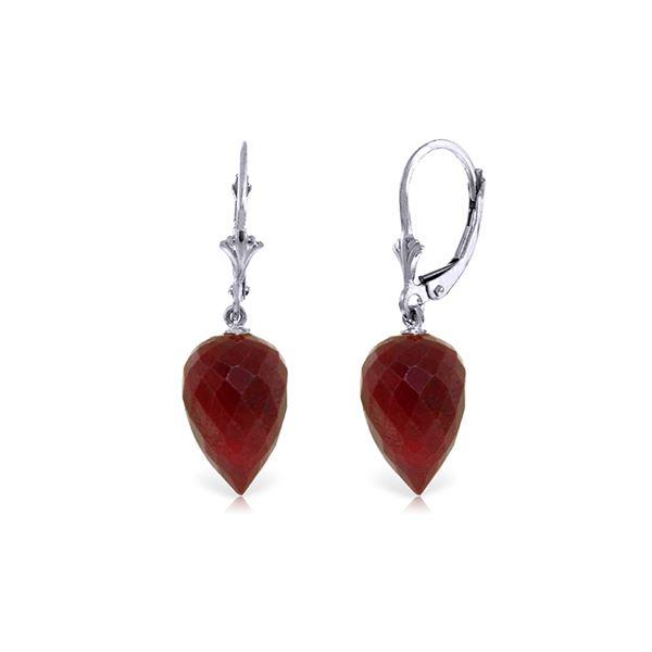 Genuine 26.1 ctw Ruby Earrings 14KT White Gold - REF-37T8A