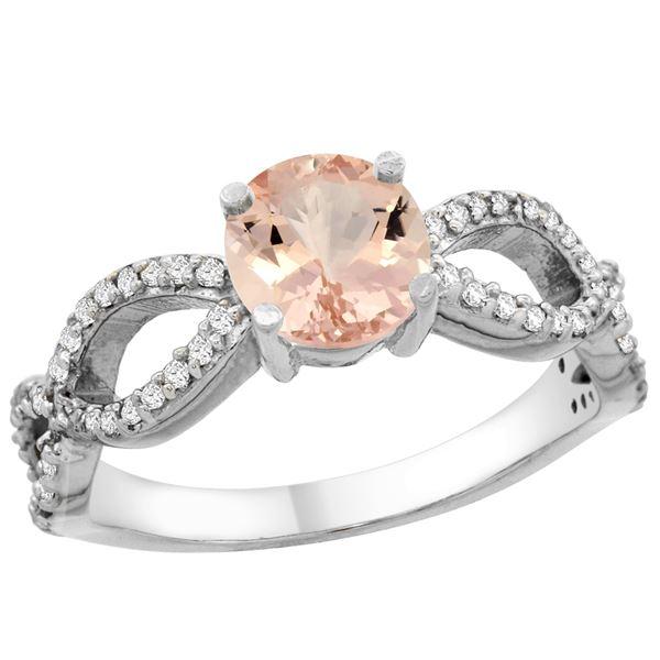 0.95 CTW Morganite & Diamond Ring 10K White Gold - REF-53H3M