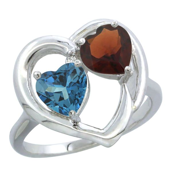 2.61 CTW Diamond, London Blue Topaz & Garnet Ring 10K White Gold - REF-24X3M