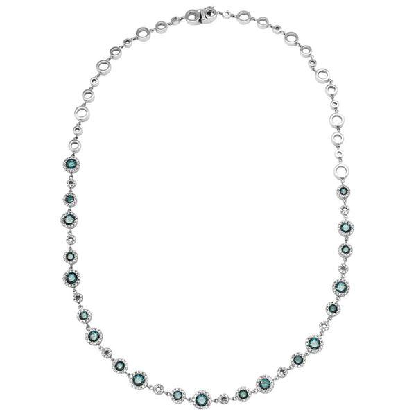 Natural 4.76 CTW Diamond & Blue Round Diamond Necklace 18K White Gold - REF-515Y7N