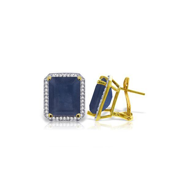 Genuine 13.2 ctw Sapphire & Diamond Earrings 14KT Yellow Gold - REF-197V5W
