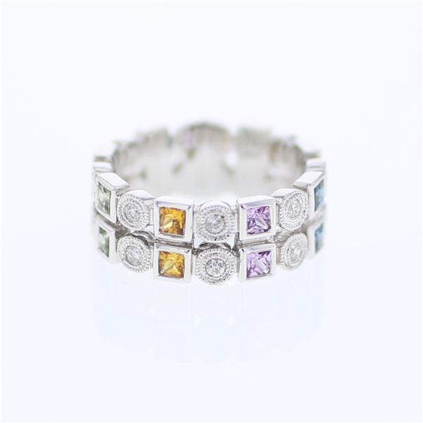Natural 1.04 CTW Multi-Sapphire & Diamond Ring 14K White Gold - REF-78R3K