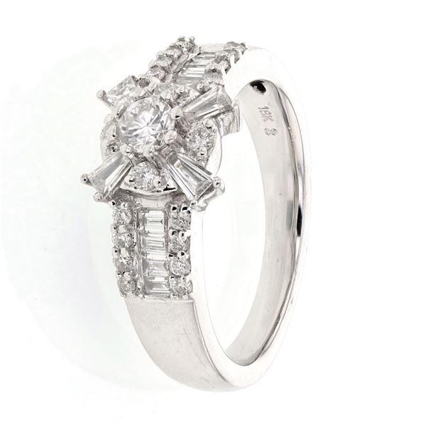 Natural 0.86 CTW Baguette & Diamond Ring 18K White Gold - REF-145X8T