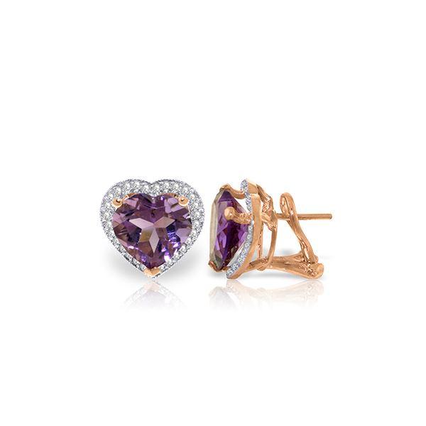 Genuine 6.48 ctw Amethyst & Diamond Earrings 14KT Rose Gold - REF-101Z4N