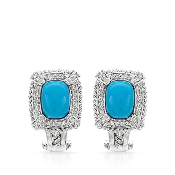 Natural 2.98 CTW Turquoise & Diamond Earrings 14K White Gold - REF-79X2T