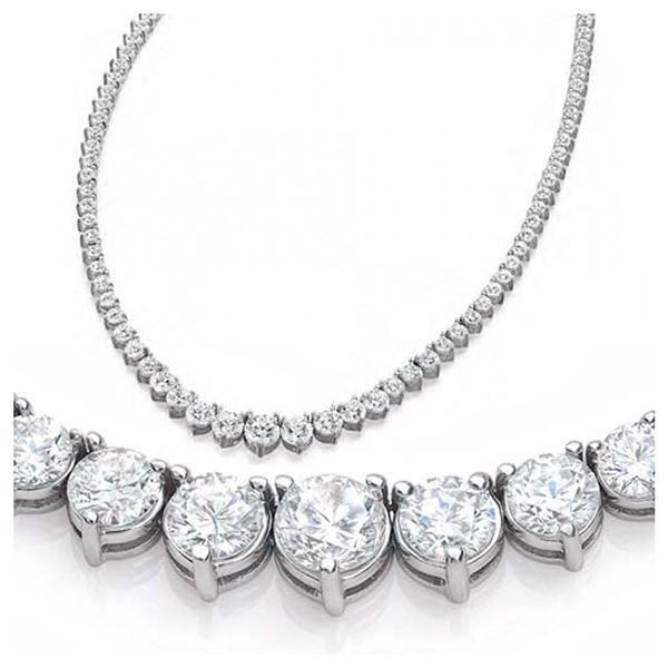 Natural 9.56CTW VS2/I-J Diamond Tennis Necklace 18K White Gold - REF-913X9R