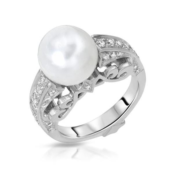 Natural 9.18 CTW Pearl & Diamond Ring 14K White Gold - REF-129H6W