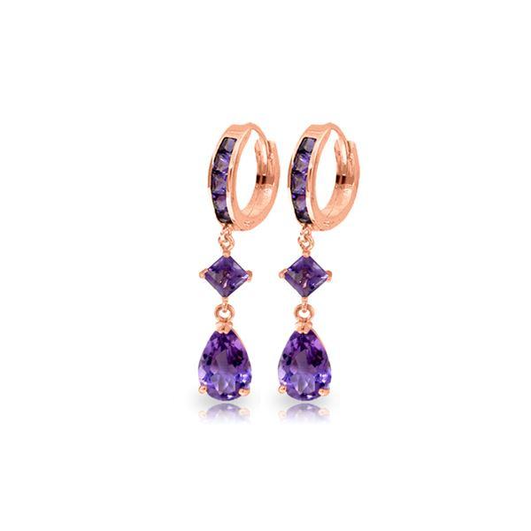 Genuine 5.62 ctw Amethyst Earrings 14KT Rose Gold - REF-62V7W