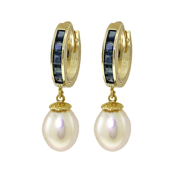 Genuine 9.3 ctw Sapphire & Pearl Earrings 14KT Yellow Gold - REF-46H2X