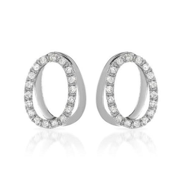 Natural 0.56 CTW Diamond Earrings 14K White Gold - REF-71M3F