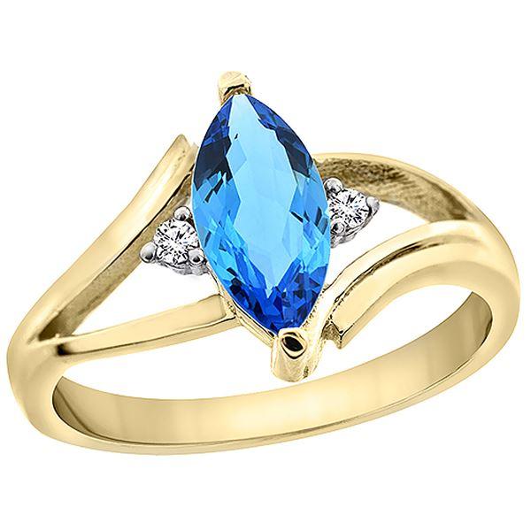 1.24 CTW Swiss Blue Topaz & Diamond Ring 10K Yellow Gold - REF-23W3F