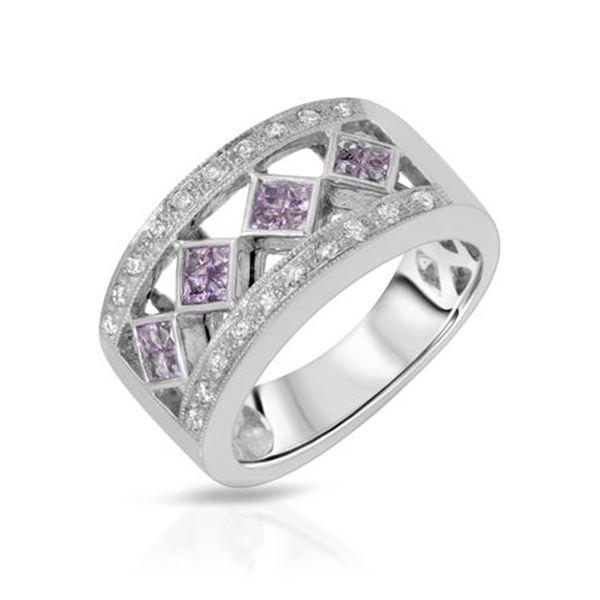 Natural 0.68 CTW Pink Sapphire & Diamond Ring 14K White Gold - REF-81R2K